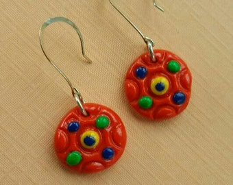 Tangerine Boho Earrings,Hppie Jewelry,  Bohemian,  Round, Polmer Clay, Color Dots, Long Ear Wire