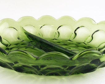 Vintage Olive Green Divided Glass Relish Dish Anchor Hocking Fairfield Candy