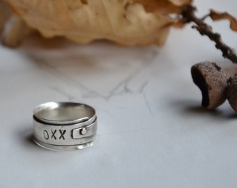 Silver band Unique Sterling Silver ring, Original XXO stamped rustic black oxidized silver band