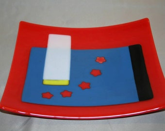Square glass platter in an abstract pattern (PL-6)