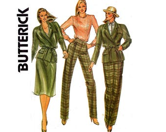 Butterick 3467 DANIEL HECHTER Womens Retro Jacket Pants & Skirt 80s Vintage sewing pattern Size 12 Bust 34  inches UNCUT Factory Folded