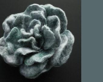 Greyish Green Felted Rose, Felt Flower, Rose Brooch, Flower Brooch, Felt Rose Brooch, Smoky Green Rose