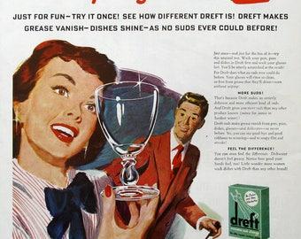 1948 Dreft Soap Ad - 1940s Dishwashing Liquid Soap Ad - Vintage Housekeeping Ads