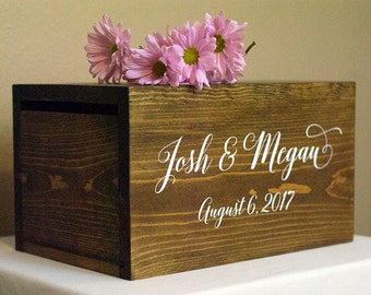 Personalized Wedding Card Box, Boho wedding card box, money box, wedding card box, rustic card box, wood card box, rustic wedding decor