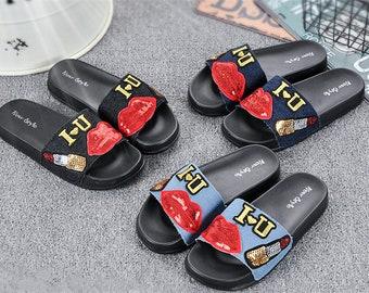 Women denim stylish makeup cute stiched rubber flexible sandals