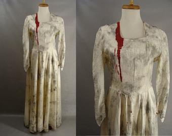 Zombie Bride Dress. Vampire Bride Costume. upcycled 50s Distressed Bloody Wedding Dress. Corpse Bride Costume. Halloween Costume size 6 S M
