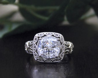 3.30 ct. Center Art Deco Engagement Ring-Cushion Cut Diamond Simulanst-Vintage Ring-Bridal Ring-Anniversary Ring-Sterling Silver [4350]