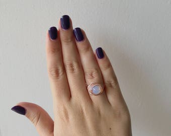 Opalite Moonstone Wire Wrapped Rose Gold Ring// Size 6.5
