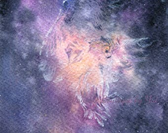 Owl Spirit no2- ORIGINAL watercolor painting 7.5x11 inches
