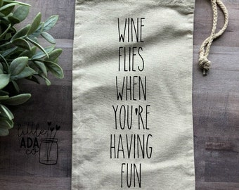 Canvas Wine Tote-Wine Flies When You're Having Fun-Wine Tote