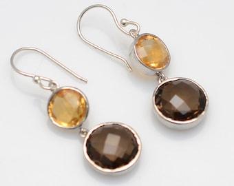 Sterling silver citrine & Smoky Quartz Gemstone earrings