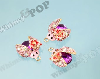1 - Gold Tone Magenta Pink Beetle Crystal Rhinestone Pendant Charm, Bug Charm, Beetle Charm, 22mm (4-5E)