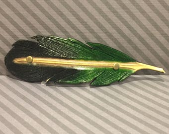 Handmade black/green/gold leather feather hair barrette clip