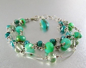15 Off Three Strand Wire Wrapped Bracelet With Peruvian Blue Opal, Green Amethyst, and Blue Moonstone