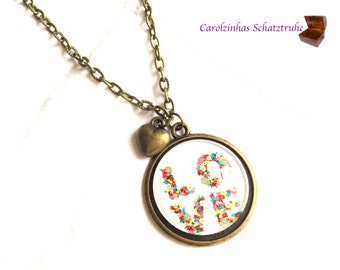necklace LOVE with heart and flowers