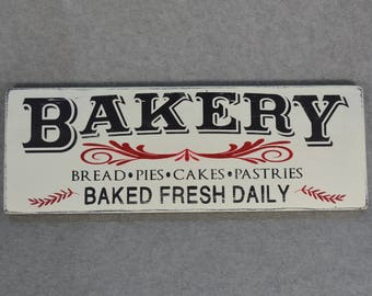 Distressed Bakery Fresh Baked Daily Rustic Wood Sign, Farmhouse Style Kitchen, Red Accents