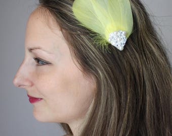 pale yellow feather bridal hair clip