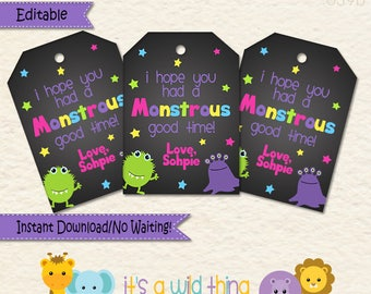 Monster Favor Tags  • Monster Themed Decorations •  Monster Party • Goodie Bags • Monster Party Favors •First Birthday •Treat Bags  • 039b