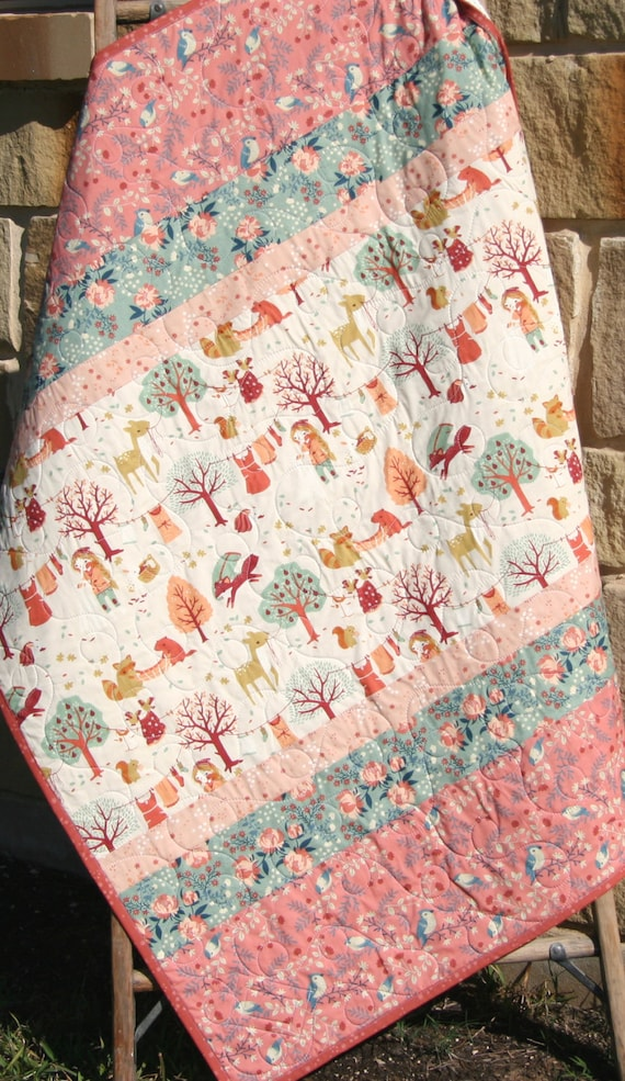 Last One Baby Girl Quilt Modern Blanket Woodland Baby