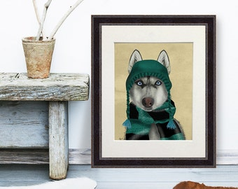 Alaskan Husky in Hat and Scarf - dog sledding gift husky gift husky art siberian husky print mushing beautiful dog print striking art