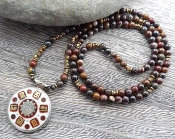 Tiger Iron Mala with reversible Tibetan Pendant, Meditation Beads, 108 Prayer Beads, Mala Necklace, Reiki infused