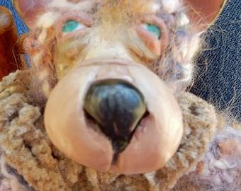 OOAK OOAK Miniature Artist Bear-Joel-Crochet Thread and Clay Bear-Carla Smale
