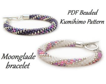 PDF Beaded Kumihimo Pattern - Moonglade Kumihimo bracelet tutorial – bead layout instruction