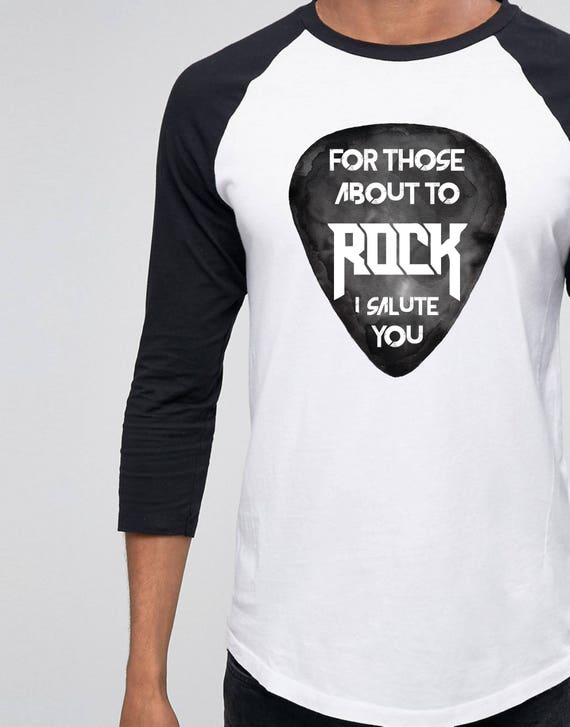 For those about to ROCK! | AC/DC |Unisex Raglan T-Shirt | 3/4 sleeves | Baseball shirt | Guitar Pick | Watercolor | Rock music Tee