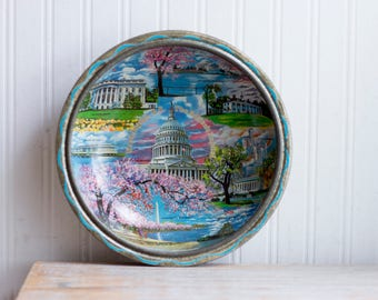 Vintage Souvenir Tray Washington DC, Pink Cherry Blossoms, The Nations Capital Historical, America USA
