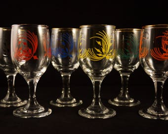 Vintage set of six 'atomic' Sherry and Port glasses