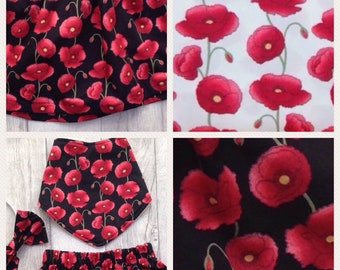 Black and red poppy skirt, dress, hairbow, dribblebib or bloomers