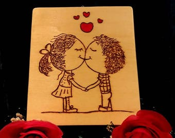 Picture with sweethearts-pirografato design-made and hand painted-thought of love-Valentine's Day gift for him-her-valentine