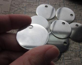 10 TUMBLED Aluminum 1.25 Inch Discs - 18 Gauge
