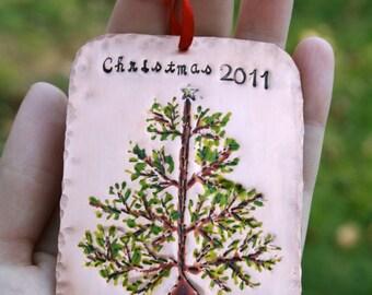 Personalized Hand Stamped Christmas Tree - Copper Family Keepsake Ornament - Original Artwork