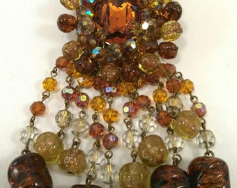 Large vintage orange and yellow glass beaded brooch