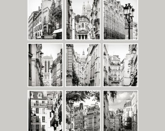 Gallery wall set of 9 prints Paris black and white print set Living room decor Architectural prints Large wall art photography set 11x14