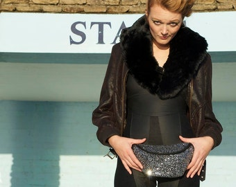 GALAXY glitter fannypack, bumbag, hip bag, ykk zipper, black Eco leather silver and black
