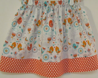 Orange Birds and Flower Skirt  Size  2 - 8