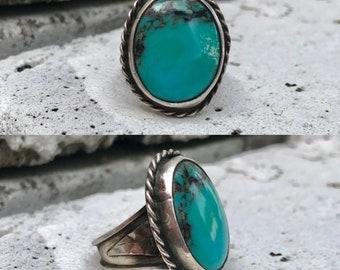sterling silver turquoise men's vintage southwestern southwest ring size 11.5