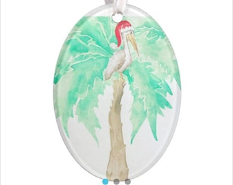 Acrylic ornament with pattern on both sides.  Original watercolor which ornament is printed from is by shop owner.