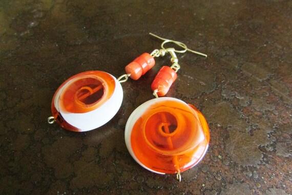 Orange Swirl Glass Beaded Dangle earrings