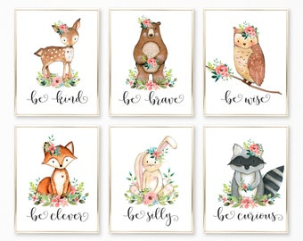 Nursery Wall Art. Woodland Nursery. Nursery Decor. Nursery Printable. Baby Girl. Nursery Art. Nursery. Woodland Nursery Art. Be kind Brave