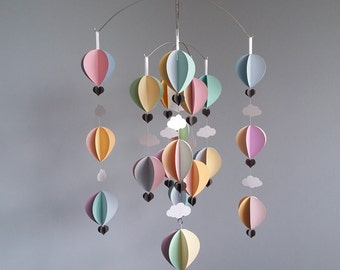 Hot Air Balloon Mobile -Pastels - baby mobile - nurery decoration- baby shower gift-Come Fly With Me -Large