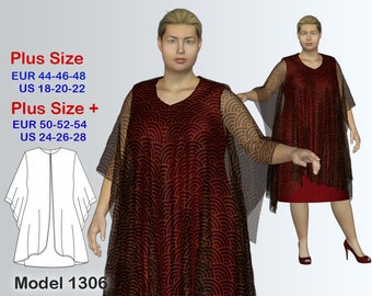 Plus size Dress with cape Sewing Pattern PDF, Women's sizes 18-28, Dress with cape Instant Download Sewing Pattern, Dress Sewing Pattern