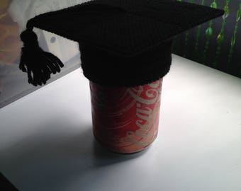 Graduation Cap Soda Pop Can Topper Drink Charm Plastic Canvas Cover