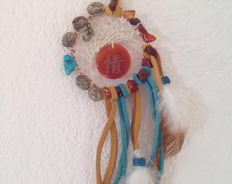 Chakra Om Dreamcatcher Turquoise//Carnelian//Serenity//Sacral Chakra//Throat Chakra