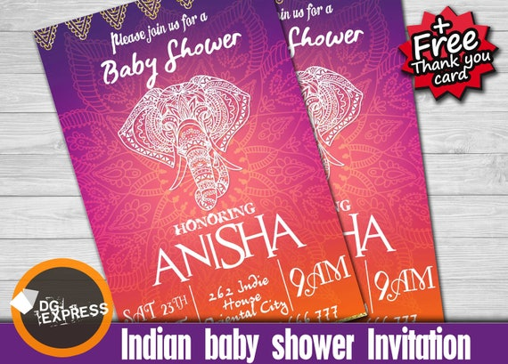 Moroccan Baby Shower Invitation Indian Baby Shower