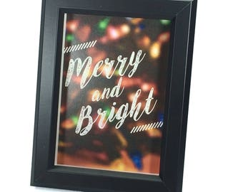 Black Framed Christmas Art (5x7 inches) - Merry and Bright