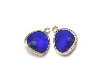 Cobalt Blue Glass Pendant . Jewelry Craft Supplies . 16K Polished Gold Plated over Brass  / 2 Pcs - AG001-PG-CB