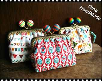 Holiday Rainbow  Coin purse / Wallet / Pouch / clutch / kiss lock frame purse bag / handmade purse gift-GinaHandmade